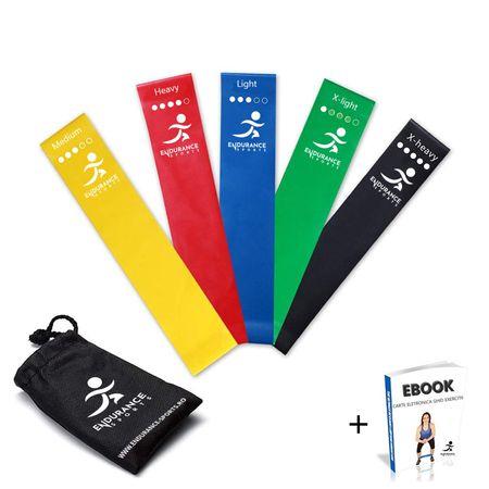 Banda elastica fitness X5 Resistance Bands Endurance Sports vine cu set complet care include ebook si saculet, totul la un pret special!