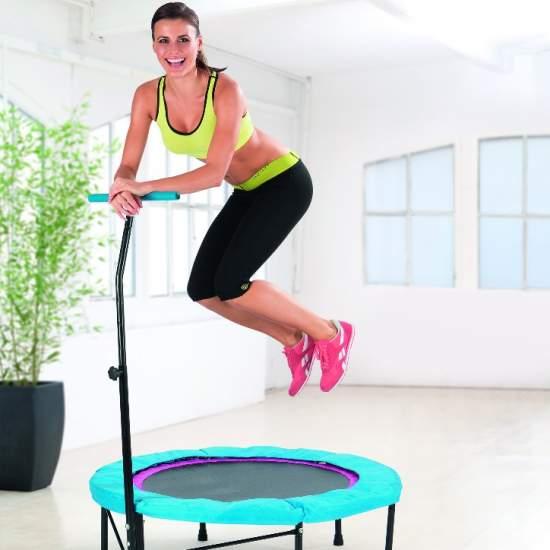 PowerMaxx Fitness Trampoline - Trambulina pentru fitness ReStart are inclusiv ghidon pentru exercitii reusite!