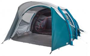 Poti comanda de la Decathlon un cort cu structura gonflabila Air Seconds 5.2 Fresh&Black Quechua cu 2 camere in care pot dormi linistiti 5 persoane!