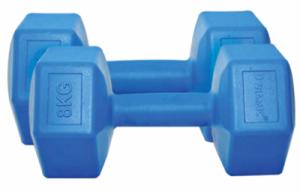 Kondition are un set bun de 2 gantere ieftine fitness Dynamic cu greutate de 8kg, foarte frumoase, de culoare albastra!