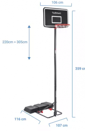 Tarmak este un cos de baschet cu pret excelent, care poate fi reglat intre 2,20 m – 3,05 m si este destinat atat copiilor, cat si adultilor.