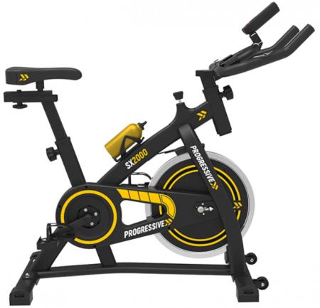 Bicicleta fitness pentru spinning PROGRESSIVE SX2000 are un design super atractiv si vine in pachet cu un bidon de apa din aluminiu!