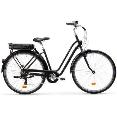 Bicicleta de oras electrica Elops 120E poate fi comandata online de la Decathlon si are autonomie maxima de 55km in modul economic!